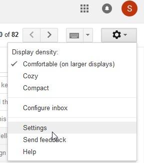 menu setting gmail