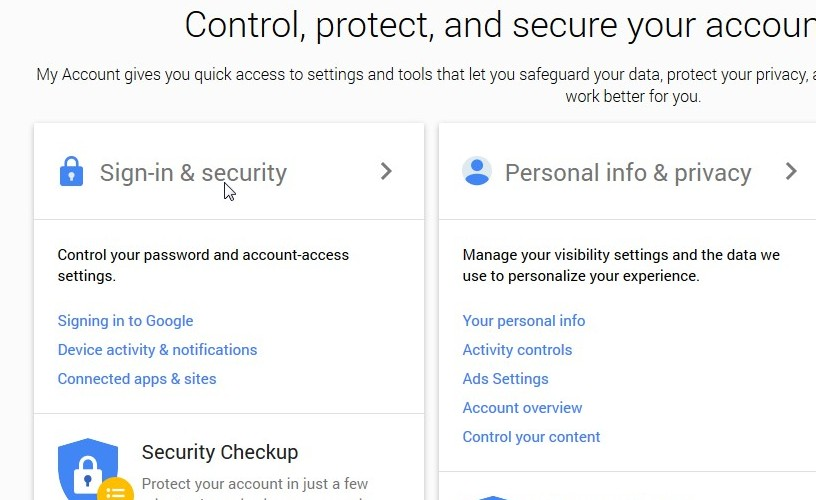 sign in and security gmail